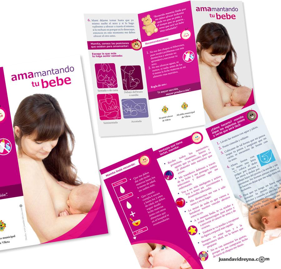 Diseño de folleto tríptico sobre lactancia materna