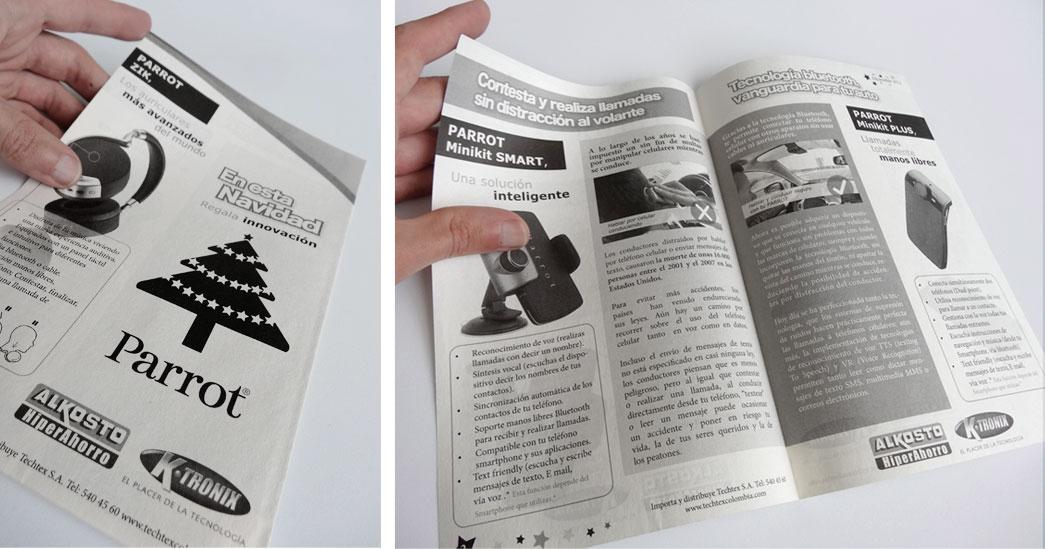 Pieza tipo prensa a una tinta, publicidad Parrot para Alkosto y Ktronix