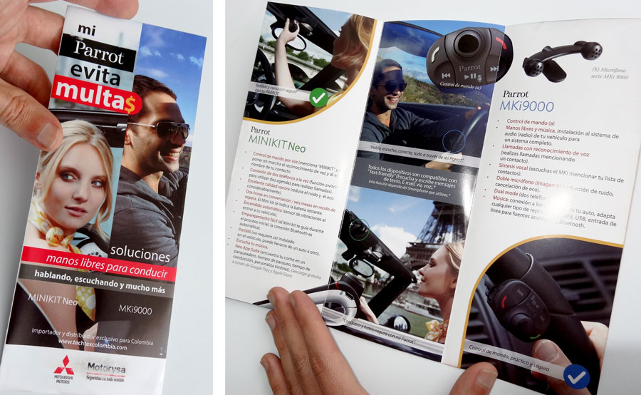 Diseño de folleto tríptico Parrot, Motorysa, dispositivos manos libres para conducción