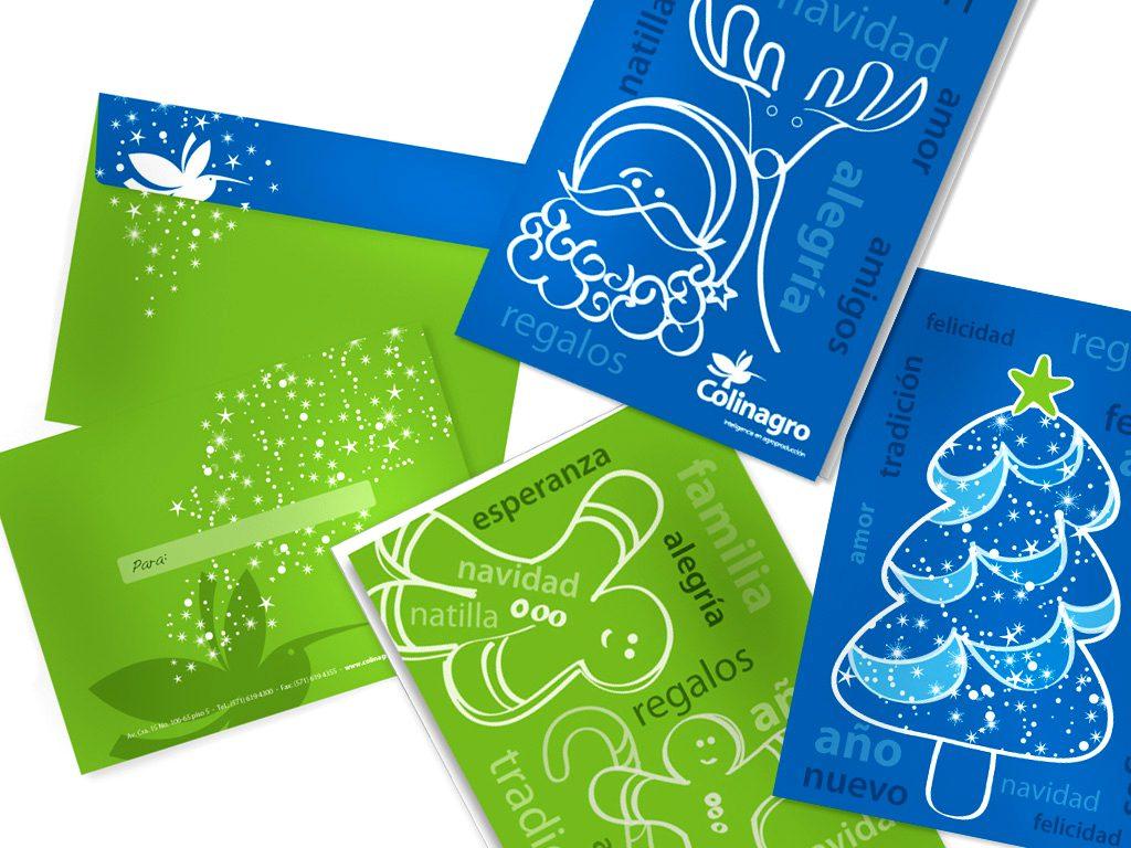Diseño tarjeta de navidad y año nuevo Colinagro, CRÉDITOS:HASPEKTO
